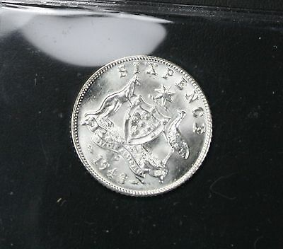 1943-d .925 Silver Six Pence / Brilliant Uncirculated