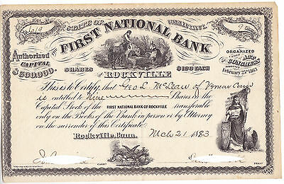 1883 First National Bank of Rockville Connecticut CT Stock Certificate