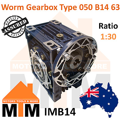 Worm Gearbox Type 50 B14 63 Input Flange 1:30 Ratio 30 Reduction