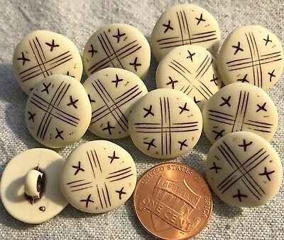 """12 Matte Off-white Plastic & Brown Domed Shank Buttons 11/16"""" 17.5MM Lot # 3648"""