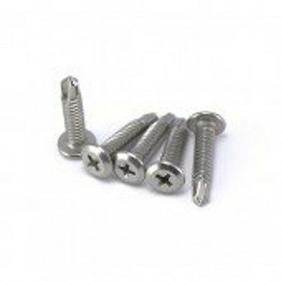 Self Drilling Stainless Steel Phillips Wafer Head Screws 10g x 22mm - 1000 Box