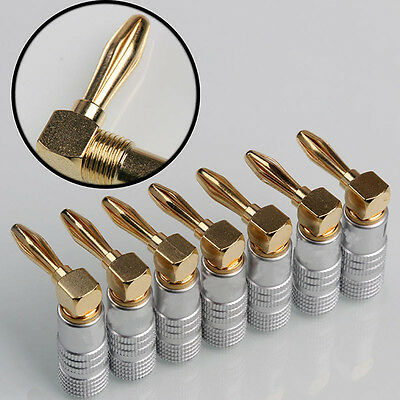 Gold Plated Right Angle 4mm Banana Plug  Copper Adapter Audio Cable Connector