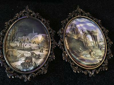 Vintage Oval Metal Frames Silk Prints - Large Silk Prints /italy - Collectable