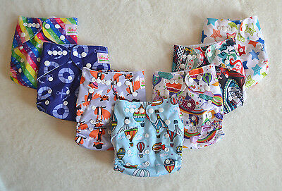 Set of 5 Reusable Washable Cloth Pocket Nappies with Microfibre Insert 5 Designs