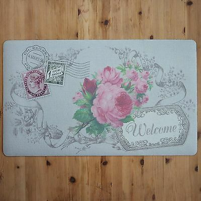 Shabby Chic French Vintage Floral WELCOME Door Mat Paris Carte Postale Pink Rose