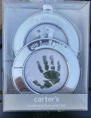 Carter's Baby Hand Print Foot Print Keepsake Treasure Silver Frame Kit Engraved