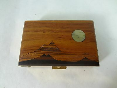 Vintage Brass and Wood Compact Pill Snuff Case w/ Vials Pyramids Desert Moon