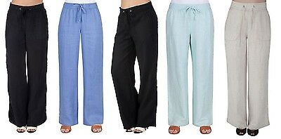 81ad5f7275 Womens Ex M&S Ladies Linen Pull On Casual Trousers Summer Holiday Summer  Pants