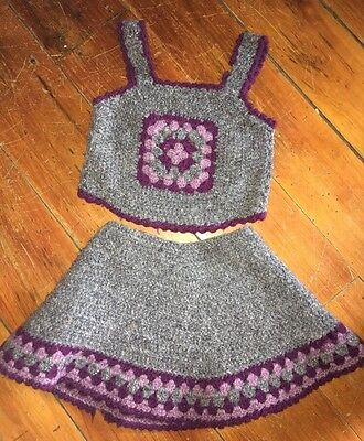 Vintage Granny Square Girls Top And Skirt- Wool