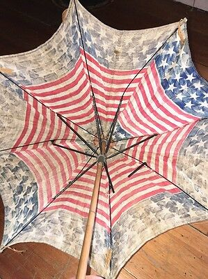 Vintage/ Antique American Flag With Bamboo Handle Sun Umbrella