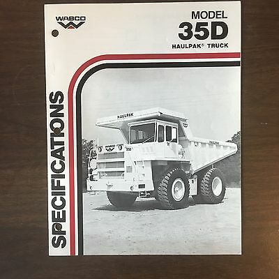 WABCO Haulpak 35D - Vintage Haul Truck Equipment Brochure Specs 1984