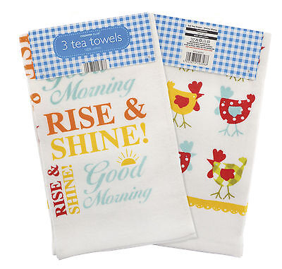Country Club Cotton Velour Tea Towels Wakey Wakey Set of 3 Kitchen Drying Cloth