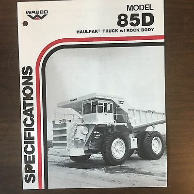 WABCO Haulpak 85D - Vintage Haul Truck Equipment Brochure Specs 1985