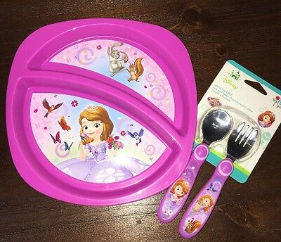 New Sofia The First Toddler Plate, Fork & Spoon Set BPA FREE CUTE!!!