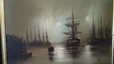 Original oil painting of a galleon by (Barry) Hilton.