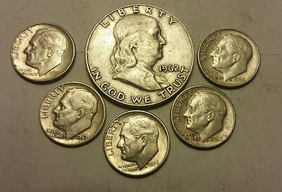 Franklin Half Dollar & 5 Roosevelt Dimes. 90% Silver US Coin Lot M-4