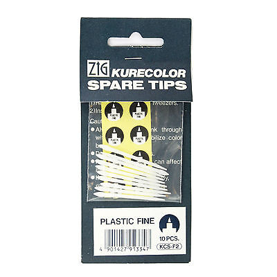 Zig Kurecolor Replacement Tips - Plastic Fine (Pack of 10)