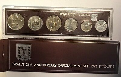 25-1974 Coins Of Israel Official Mint Set Brillant Uncirculated With Box And Coa