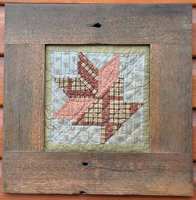 "1860s CHARMING FRAMED PRIMITIVE RUSTIC FLOWER POT ANTIQUE QUILT BLOCK: 17"" x 17"""