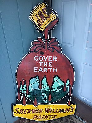 Original Porcelain Sherwin-Williams Paint Sign Cover The Earth SWP Diecut 1940s