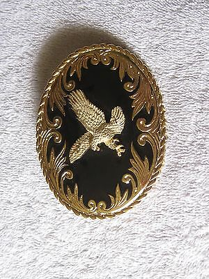 Gold Tone And And Black With Eagle Belt Buckle