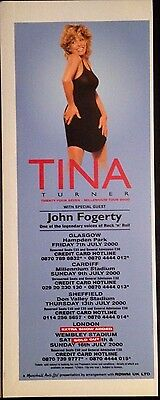 Tina Turner. Twenty Four Seven Tour - Half Page Advert From Top Magazine April