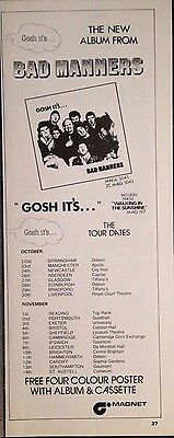 GOSH IT'S... BAD MANNERS - ORIGINAL HALF PAGE ADVERT FROM 1980s No1 MAGAZINE