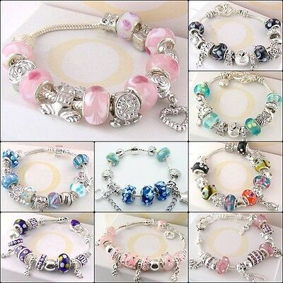 European Charm Jewellery 925Silver Crystal Bead Bracelet / Bangle + Gift Box