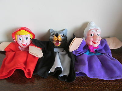 3 Vintage Hand Puppets Little Red Riding Hood /Grandmother & Big Bad Wolf