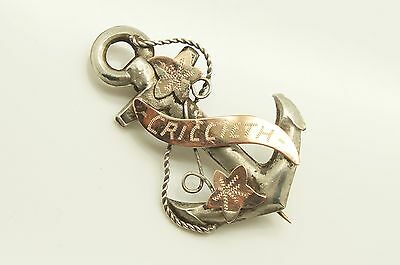 Antique 1919 Sterling Silver & Rose Gold Anchor Sweetheart Pin Brooch