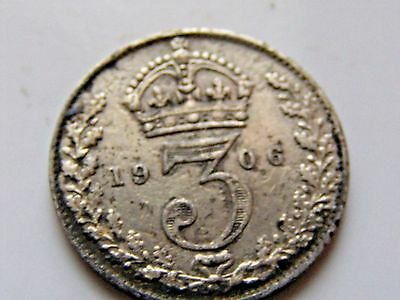 Nice toned 1906 Great Britain silver 3 Pence