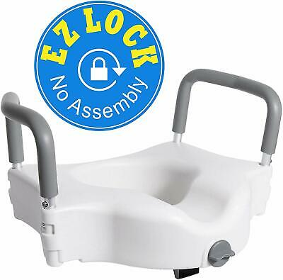 Vaunn Medical Elevated Raised Toilet Seat & Commode Riser With Removable Handles