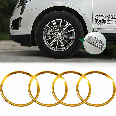 4PCS Gold Car Wheel Rim Center Hub Cap Decoration Logo Ring Covers for Cadillac