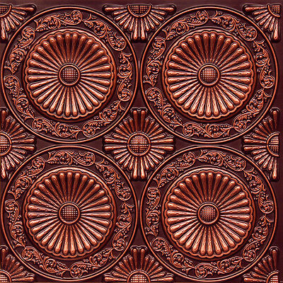 # 235 (Lot of 25) - Antique Copper PVC Faux Tin Decorative Ceiling Tile Glue-Up