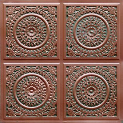 #117 (Lot of 25) - Patina Copper PVC Faux Tin Decorative Ceiling Tile Glue-Up