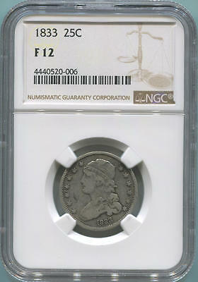 1833 Draped Bust Quarter, NGC F12