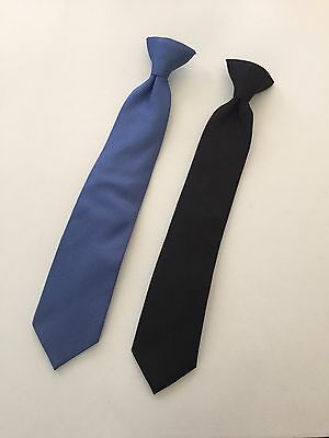 "Boys Youth clip on tie lot 14"" black and blue"