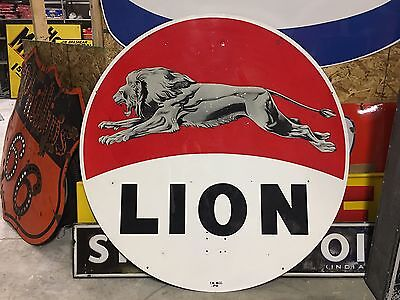 RARE Vintage Leaping LION DSP PORCELAIN Pole Sign GAS oil Station OLD