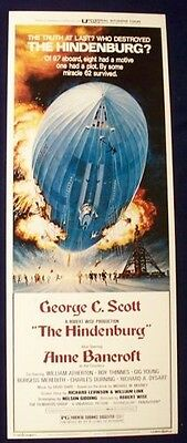 Hindenburg 14X36 Rolled Original Movie Poster 1975 George C. Scott Insert Blimp