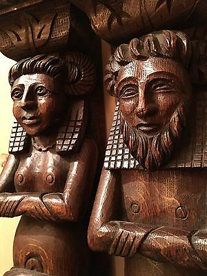 19th Century Carved Oak Wall Figures