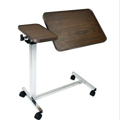 Eva Medical Adjustable Tilt Top Overbed Bedside Table for Home and Hospital Use