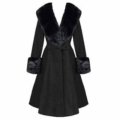 Hell Bunny Shonna Black Flormal Vintage 50s Fur Collar Winter Coat UK