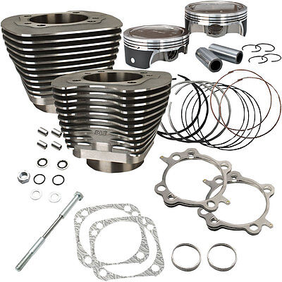 "S&S Cycle Black Powdercoat Big Bore 124"" Kit for 2007-2016 Harley Twin Cam"