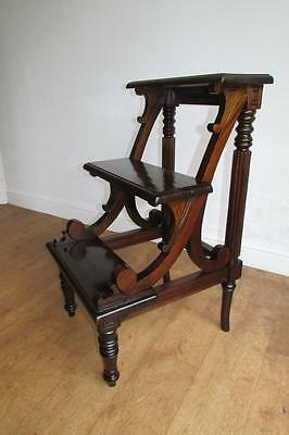 Mahogany Library Steps, Antique Reproduction. Wooden 3 Tread Kitchen Step Ladder