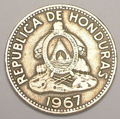 1967 Honduras Honduran 10 Centavos Coat of Arms Coin VF