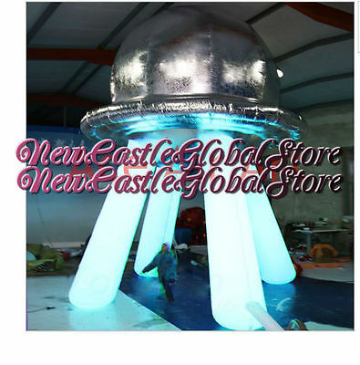 Custom made 8 feet portable inflatable LED light UFO Dome silver flying saucer