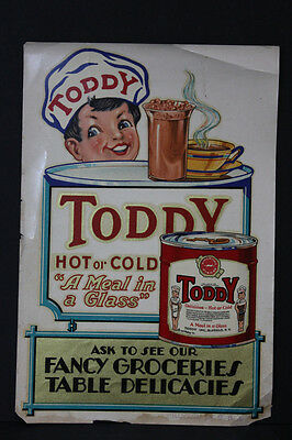 Vintage Sign Toddy Hot or Cold O-PLEX Window Signs decal Gorham Decalomania