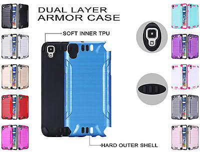For LG Tribute HD LS676 X Style Brushed Dual Layer Slim Armor Hybrid Cover Case