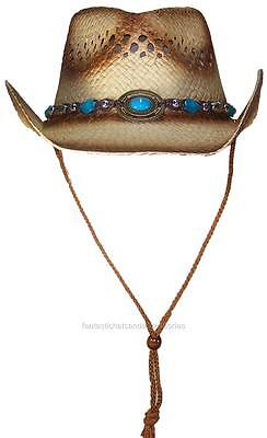 Tropic Hats Little Kids Paper Straw Cowboy/Cowgirl W/Band & Buckle #1220 Brown