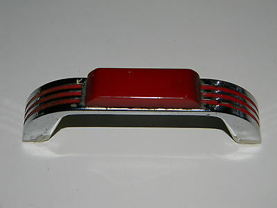 Vintage 40's Art Deco RED & CHROME DRAWER Pulls Cabinet Handles BAKELITE TESTED!